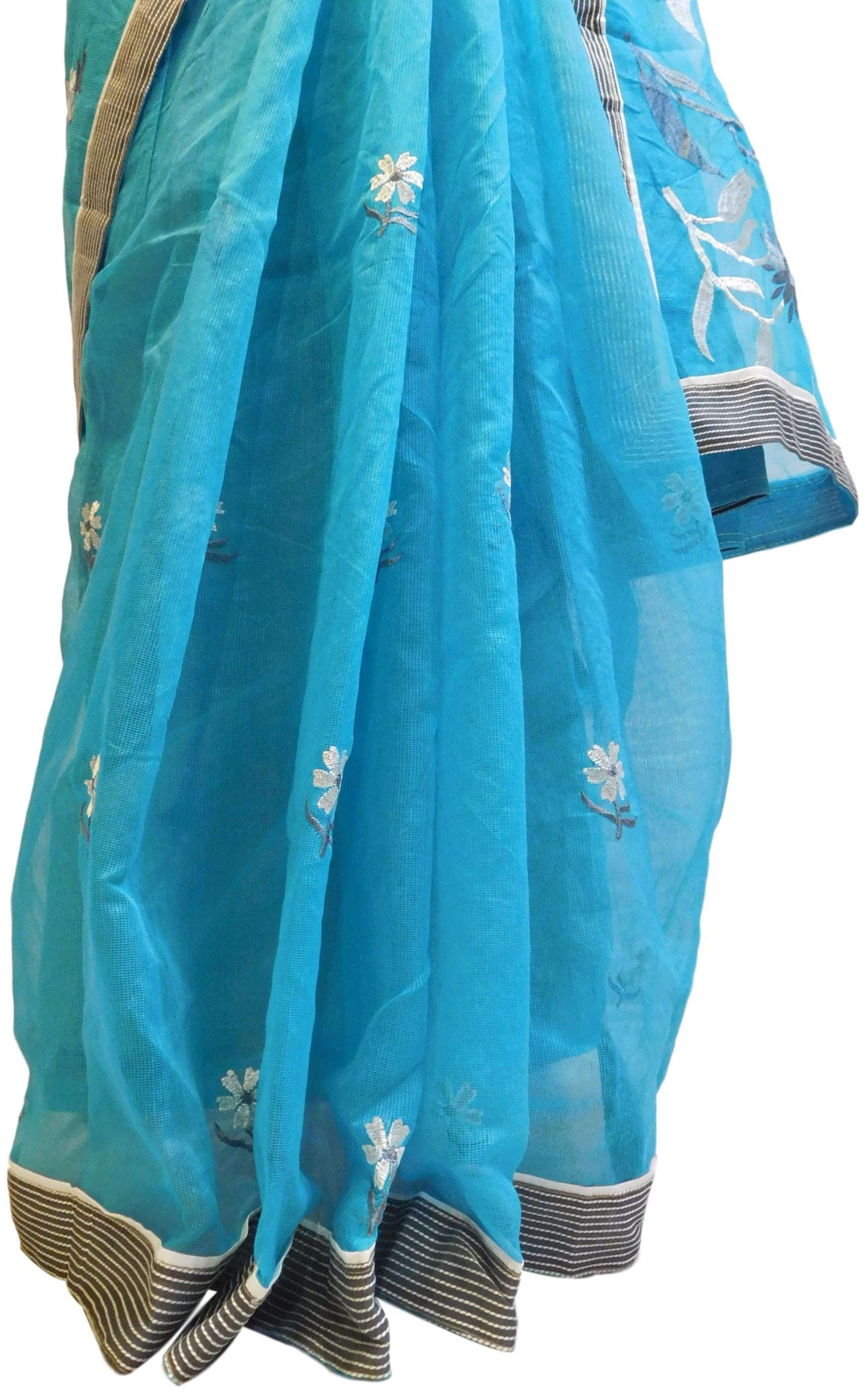 Blue Designer PartyWear Pure Supernet (Cotton) Thread Work Saree Sari With Grey Border