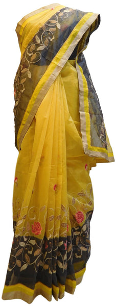 Yellow & Grey Designer PartyWear Pure Supernet (Cotton) Thread Work Saree Sari With Yellow & Beige Border
