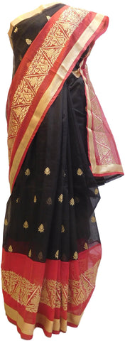Black & Red Designer PartyWear Pure Supernet (Cotton) Zari Work Saree Sari With Golden Border