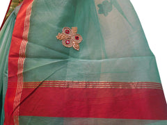 Turquoise Designer PartyWear Pure Supernet (Cotton) Thread Stone Work Saree Sari With Self Red Border