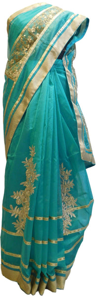 Turquoise Designer PartyWear Pure Supernet (Cotton) Thread Sequence Zari Work Saree Sari With Beige Border