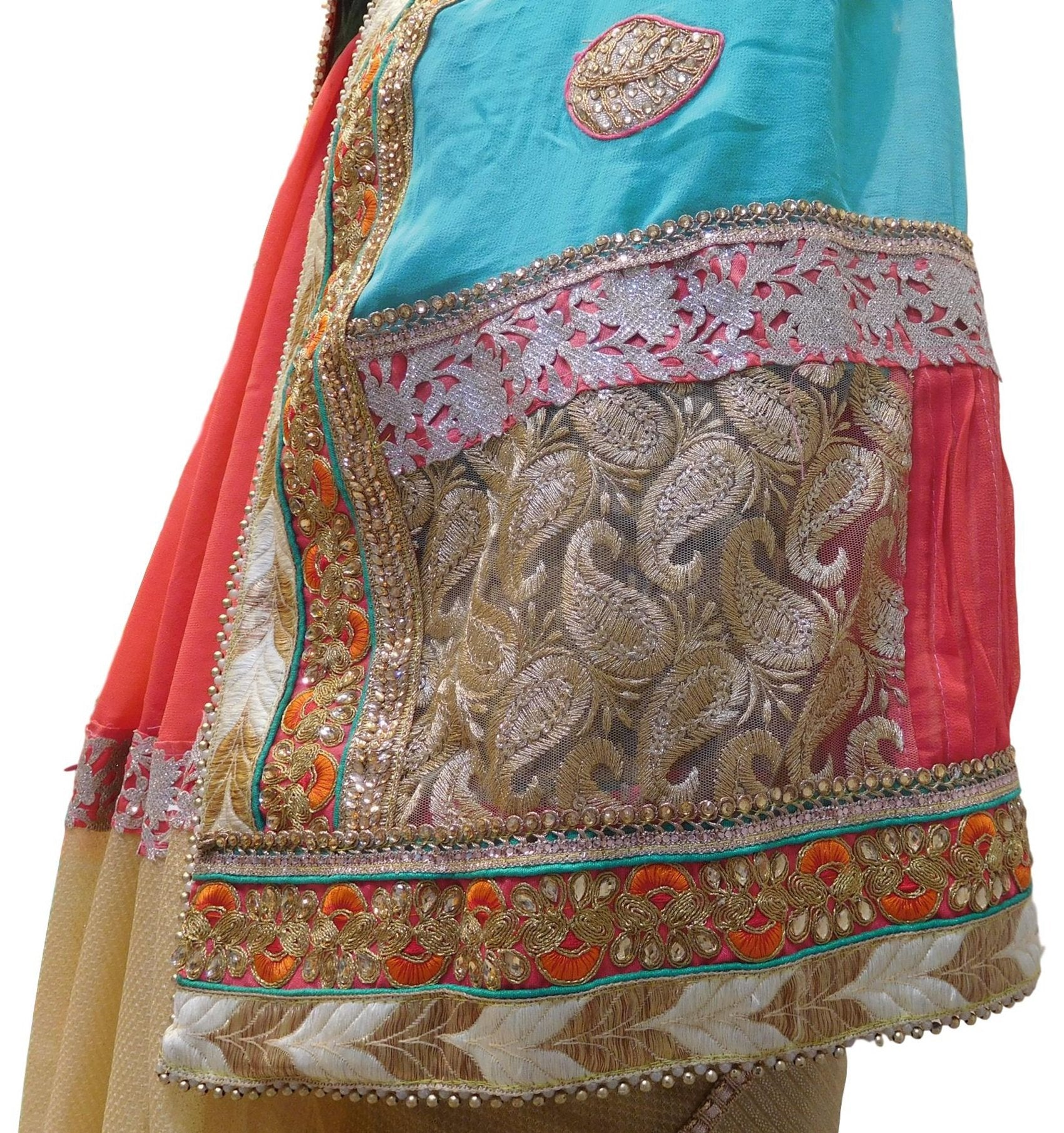 Turquoise Red & Beige Designer PartyWear Georgette (Viscos) & Lycra Thread Zari Sequence Pearl Stone Hand Embroidery Cutwork Border Saree Sari