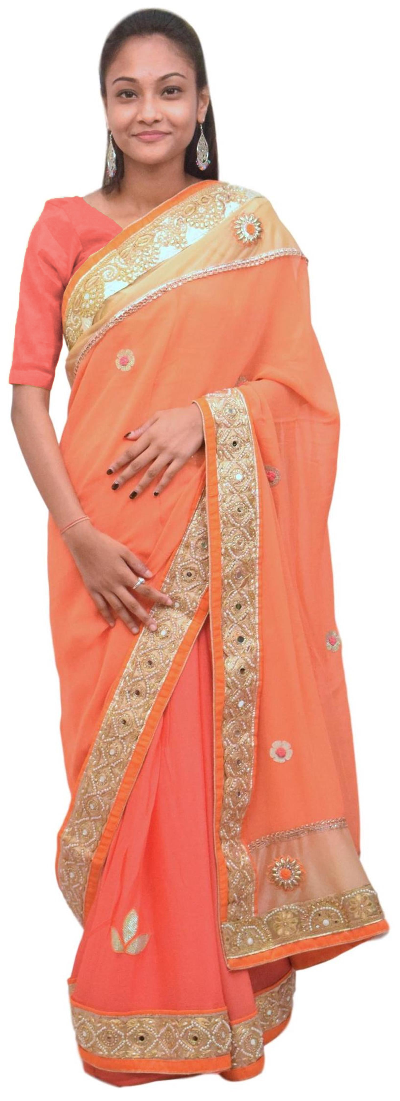Orange & Pink Designer PartyWear Georgette (Viscos) Thread Zari Sequence Pearl Stone Hand Embroidery Cutwork Border Saree Sari