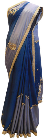 Grey & Blue Designer Wedding Partywear Crepe (Chinon) Bullion Sequnce Cutdana Beads Thread Stone Hand Embroidery Work Bridal Saree Sari