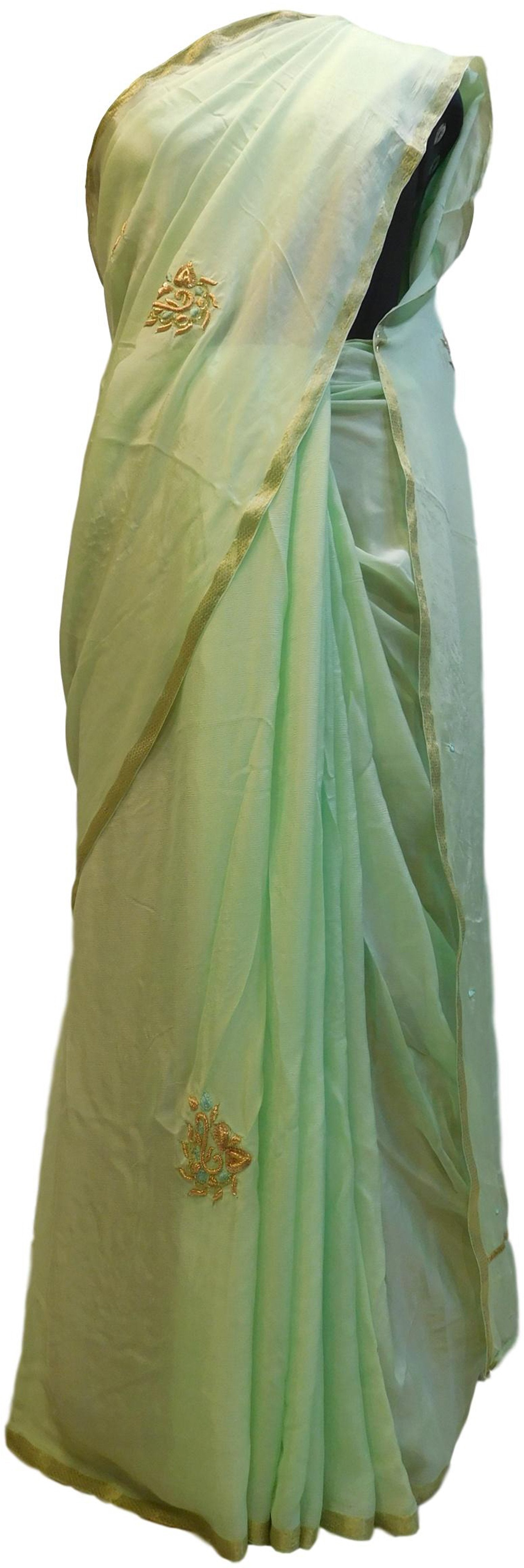 Pista Green Designer PartyWear Crepe (Chinon) Thread Bullion Cutdana Sequence Work Saree Sari