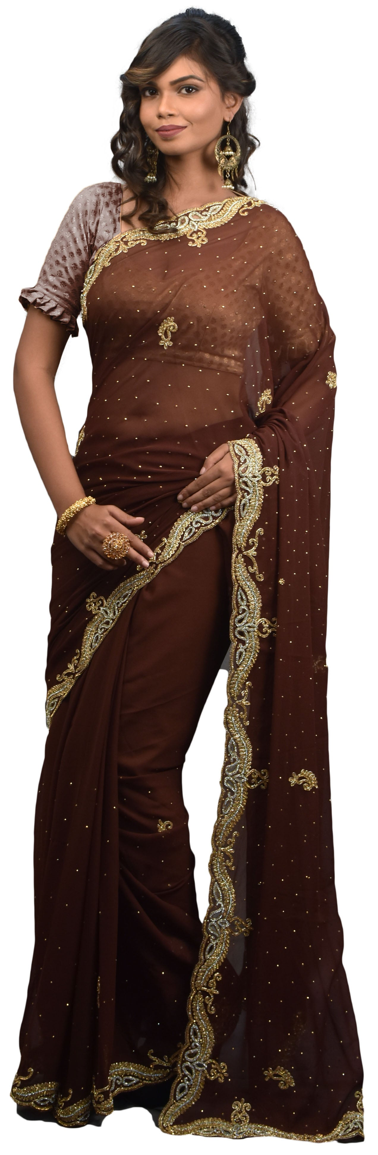 Brown Designer PartyWear Georgette Bullion Stone Hand Embroidery Cutwork BorderSaree Sari AKC901