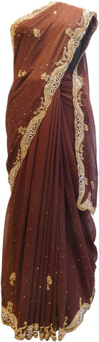 Brown Designer PartyWear Georgette Bullion Stone Hand Embroidery Cutwork BorderSaree Sari