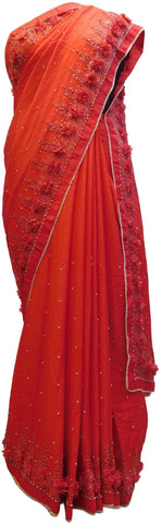 Red Designer PartyWear Georgette Thread Pearl Cutdana Stone Hand Embroidery Work Saree Sari