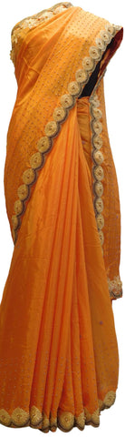 Peach Designer PartyWear Crepe (Chinon) Thread Pearl Beads Hand Embroidery Work Saree Sari