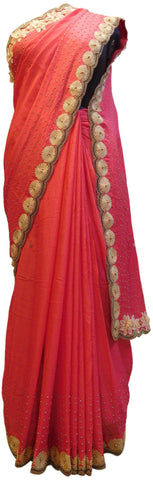 Gajari Designer PartyWear Georgette Thread Pearl Beads Hand Embroidery Work Saree Sari