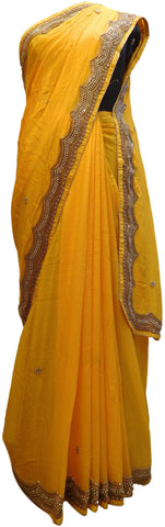 Yellow Designer PartyWear Georgette (Viscos) Beads  Cutdana Stone Hand Embroidery Work Saree Sari