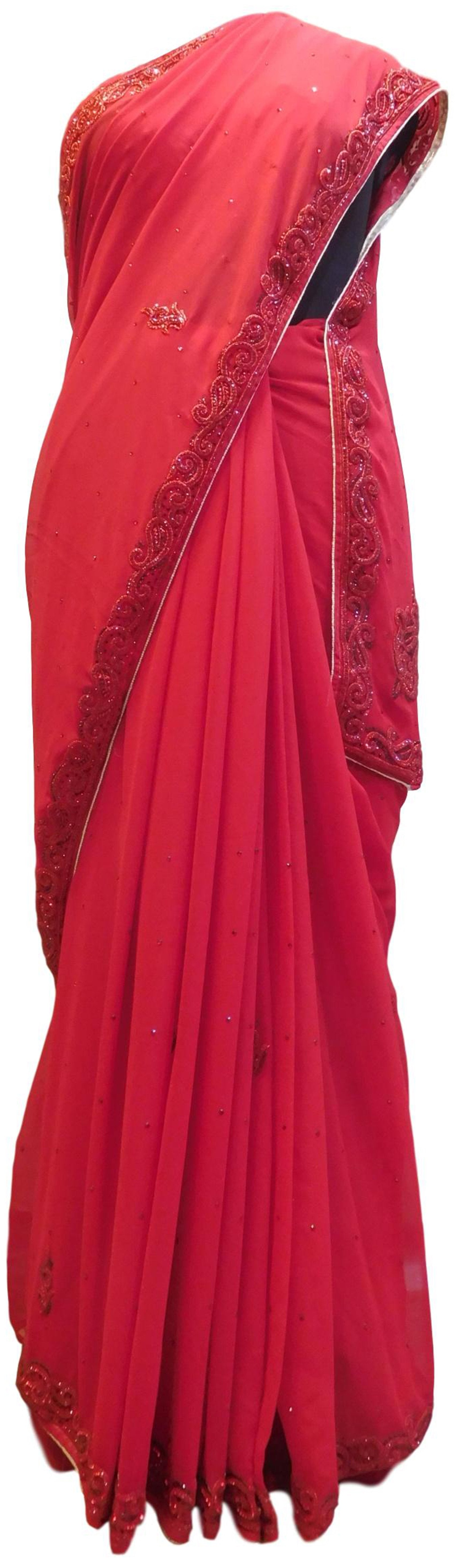 Red Designer PartyWear Georgette Thread Beads Stone Hand Embroidery Work Saree Sari