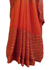 Red & Grey Designer PartyWear Crepe (Chinon) Thread Beads Cutdana Hand Embroidery Work Saree Sari