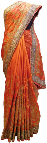 Orange Designer Wedding Sana Silk Zari Cutdana Beads Stone Hand Embroidery Work Bridal Saree Sari