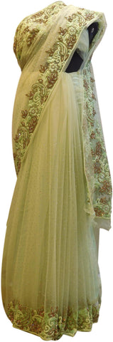 Beige Designer Wedding Partywear Net Thread Bullion Beads Stone Hand Embroidery Work Border Bridal Saree Sari