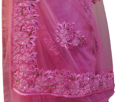 Pink Designer Wedding Partywear Net Thread Sequence Stone Hand Embroidery Work Border Bridal Saree Sari