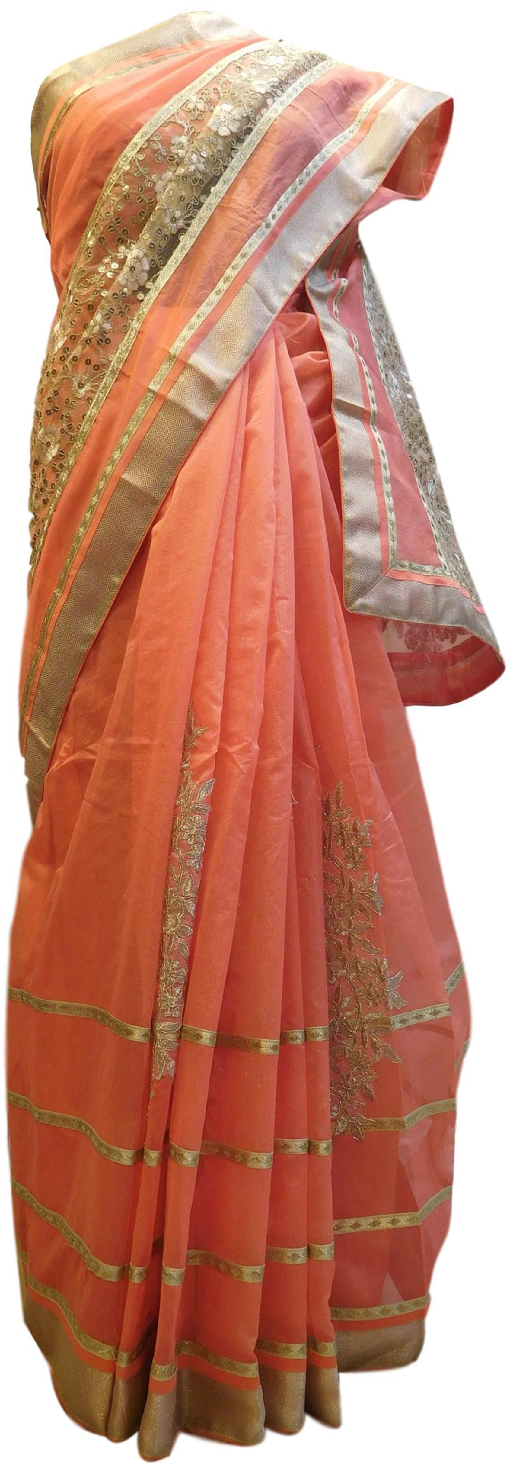 Peach Designer PartyWear Pure Supernet (Cotton) Thread Zari Sequence Work Saree Sari With Beige Border