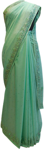 Turquoise Designer Wedding Partywear Georgette Beads Thread Stone Hand Embroidery Work Bridal Saree Sari