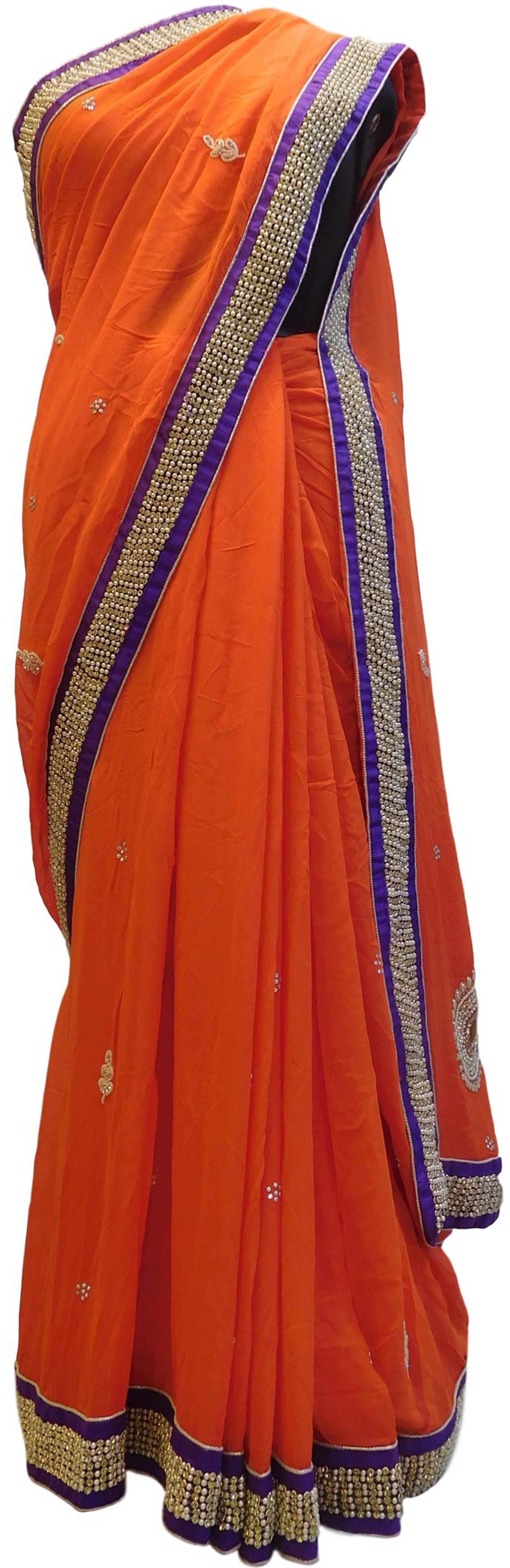 Orange Designer PartyWear Georgette (Viscos) Cutdana Pearl Cutdana Stone Bullion Thread Beads Hand Embroidery Work Saree Sari