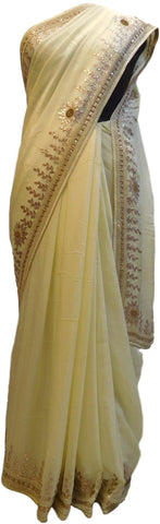 Cream Designer Wedding Partywear Crepe (Chinon) Gota Pearl Beads Cutdana Stone Hand Embroidery Work Bridal Saree Sari