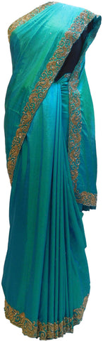 Turquoise Designer Wedding Partywear Silk Cutdana Thread Stone Hand Embroidery Work Bridal Saree Sari