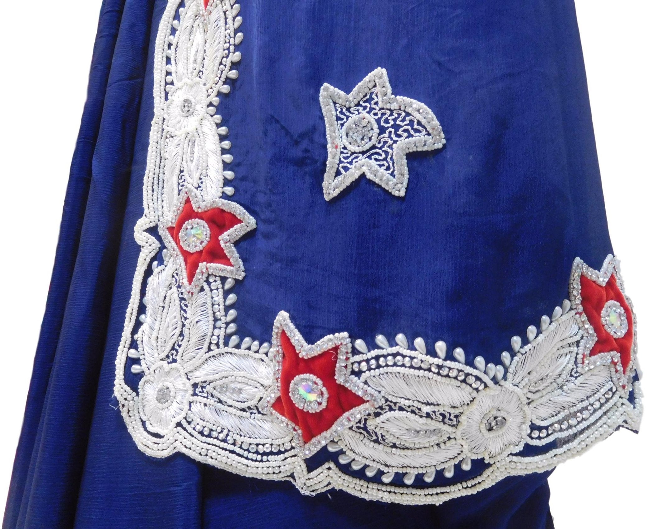 Blue Designer Wedding Partywear Crepe (Chinon) Pearl Beads Thread Stone Hand Embroidery Work Bridal Cutwork Border Saree Sari