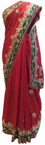 Red Designer Wedding Partywear Georgette Bullion Cutdana Thread Stone Hand Embroidery Work Bridal Saree Sari