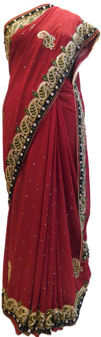 Red Designer Wedding Partywear Georgette Pearl Cutdana Thread Stone Hand Embroidery Work Bridal Saree Sari