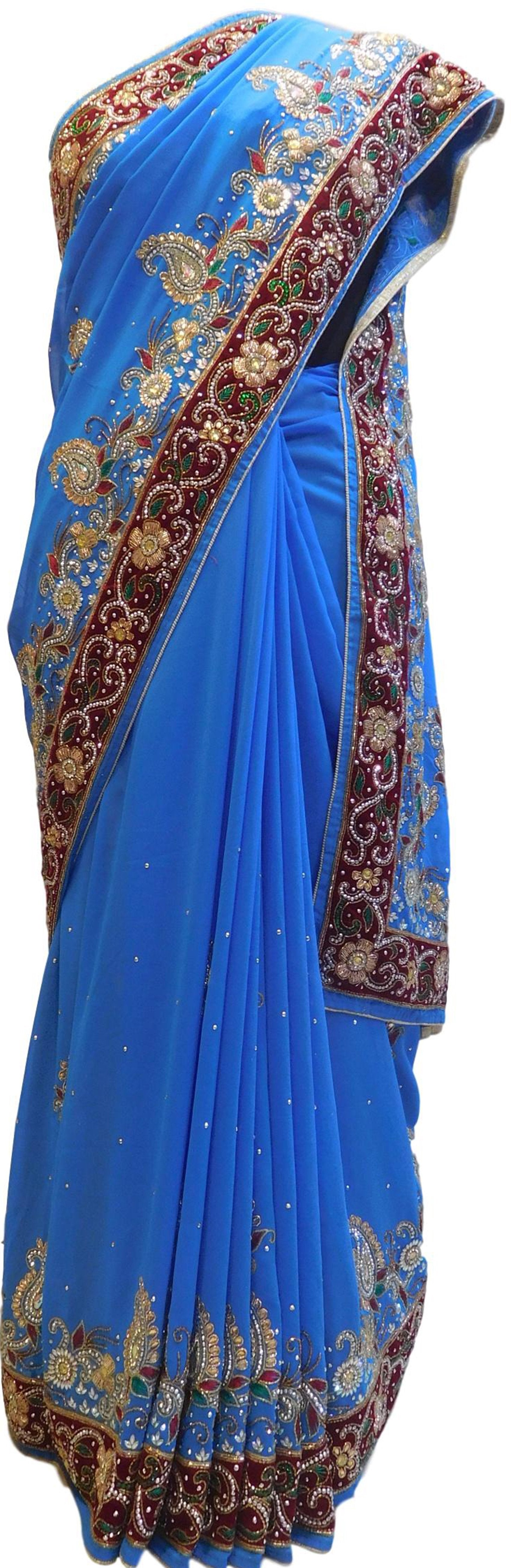 Blue Designer Wedding Partywear Georgette Bullion Cutdana Thread Stone Hand Embroidery Work Bridal Saree Sari