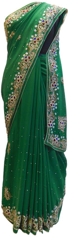 Green Designer Wedding Partywear Georgette Cutdana Thread Stone Hand Embroidery Work Bridal Saree Sari