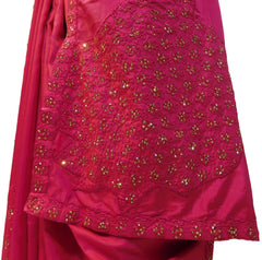 Pink Designer PartyWear Silk Stone Thread Hand Embroidery Work Saree Sari