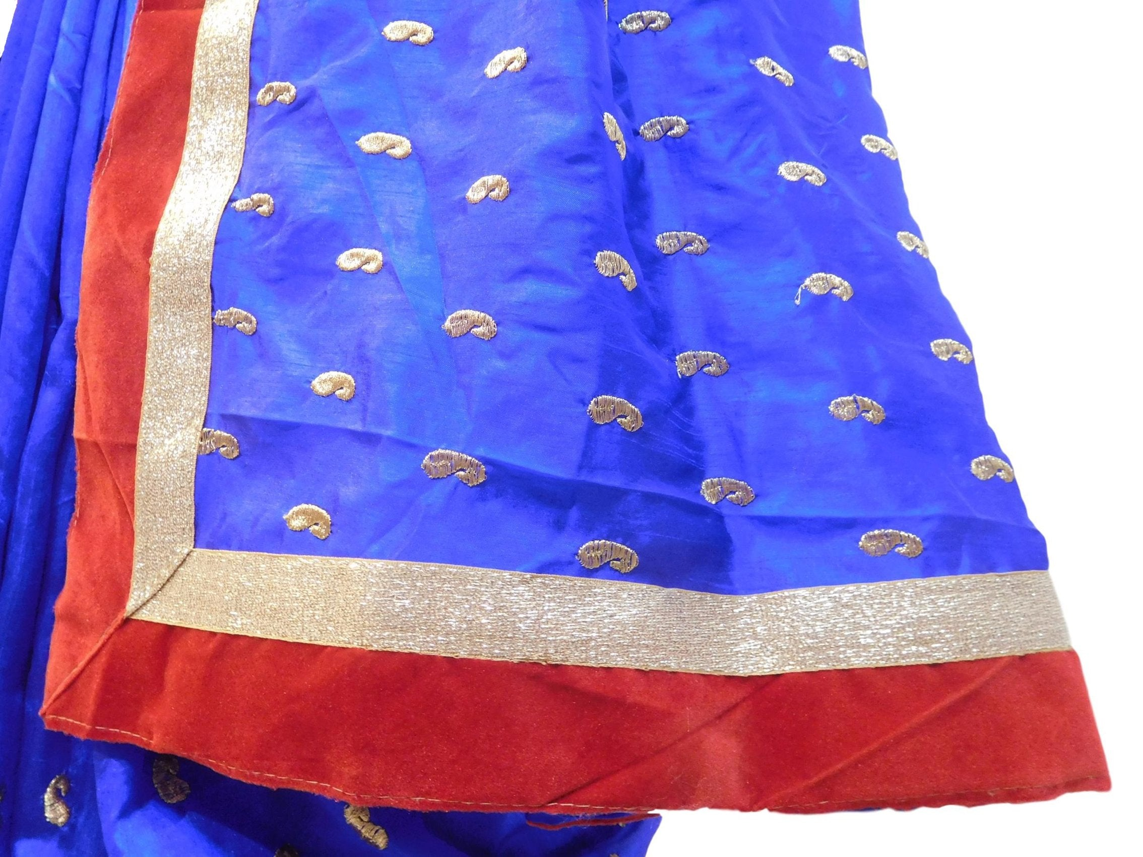 Blue Designer PartyWear Silk Zari Hand Embroidery Work Saree Sari With Red Velvet Taping