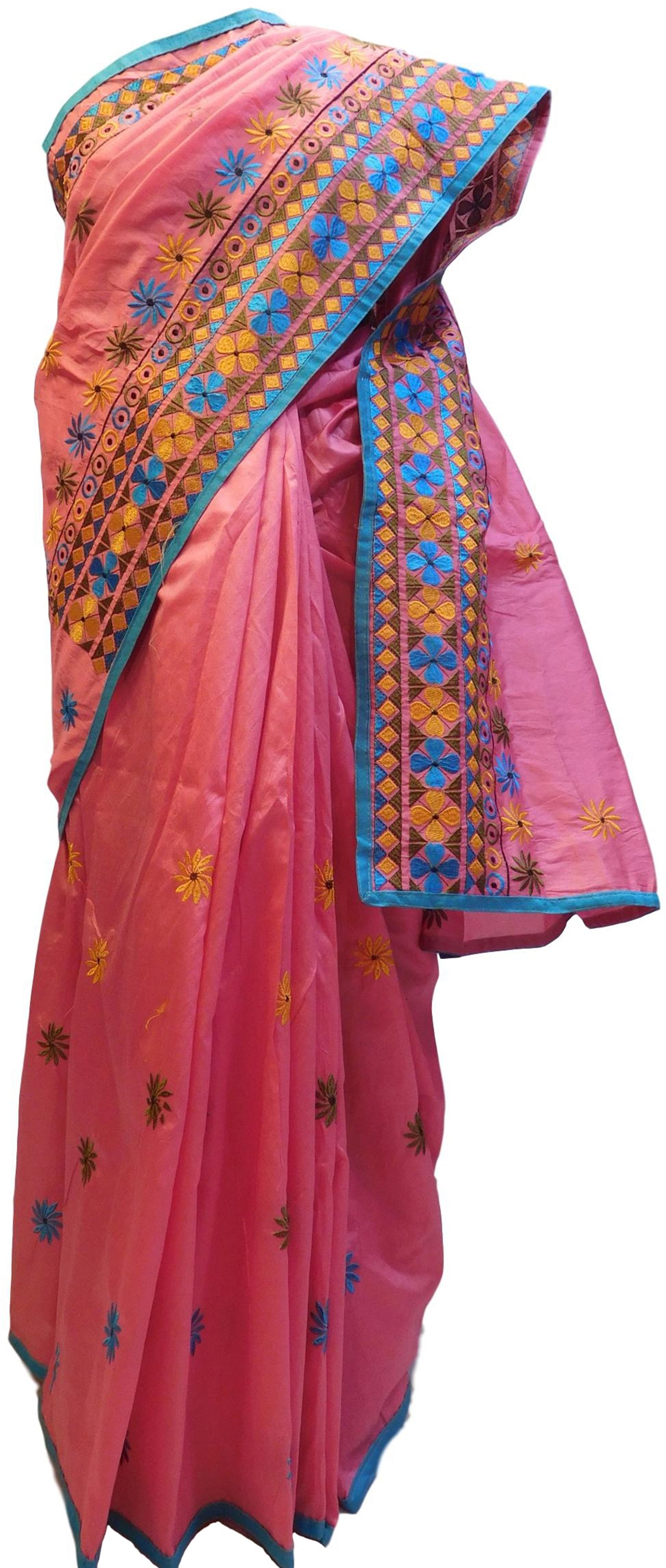 Pink Designer Partywear Silk Thread Hand Embroidery Work Saree Sari