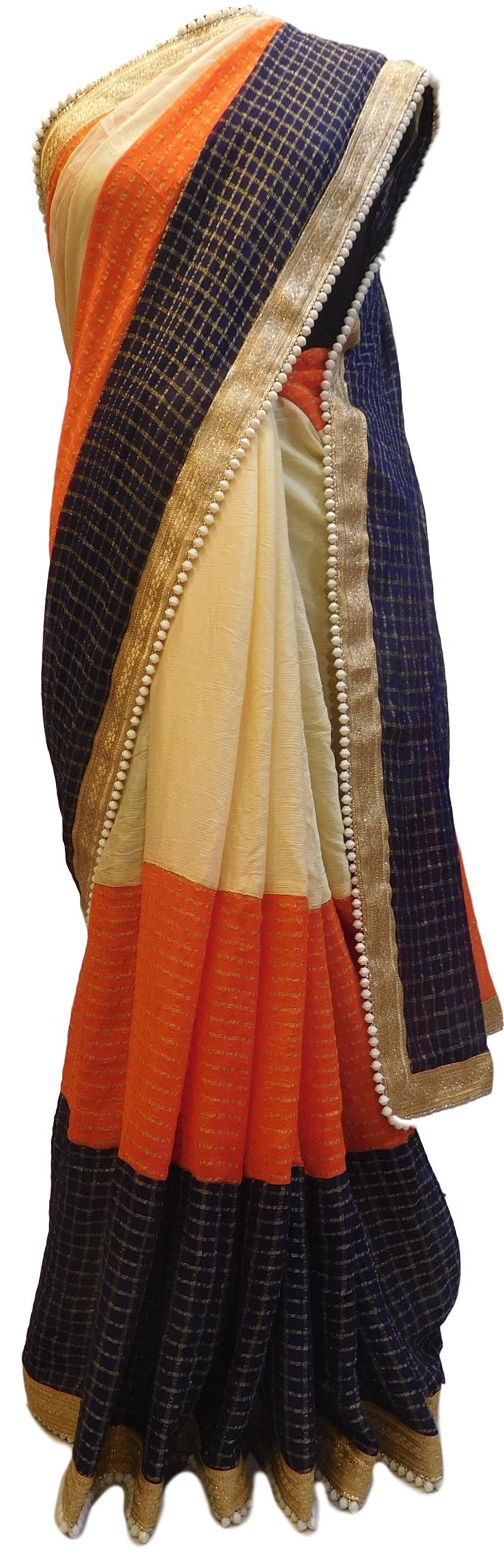Cream Orange & Blue Designer PartyWear Georgette (Viscos) Zari Pearl Hand Embroidery Work Saree Sari