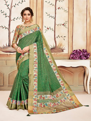 Green Cotton Checks Printed Designer Saree Sari