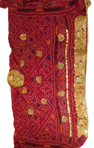 Red Designer Wedding Ceremony Pure Bandhej (2 Paat) Hand Embroidery Tested Sequence Zari Cutdana Stone Thread Work Kolkata Radha Kishan Bridal Chunari CH03