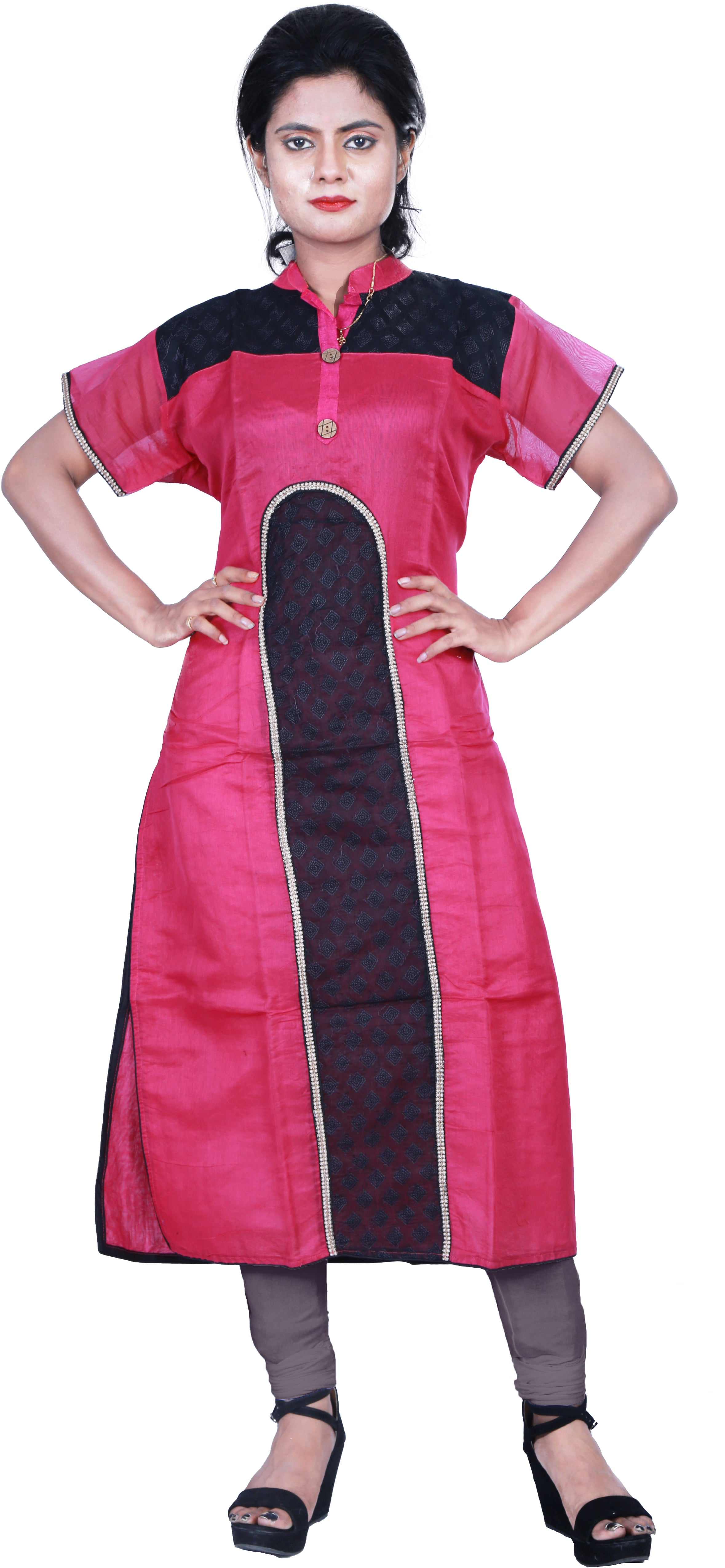 SMSAREE Pink & Black Designer Casual Partywear Cotton (Chanderi) Thread Hand Embroidery Work Stylish Women Kurti Kurta With Free Matching Leggings D048