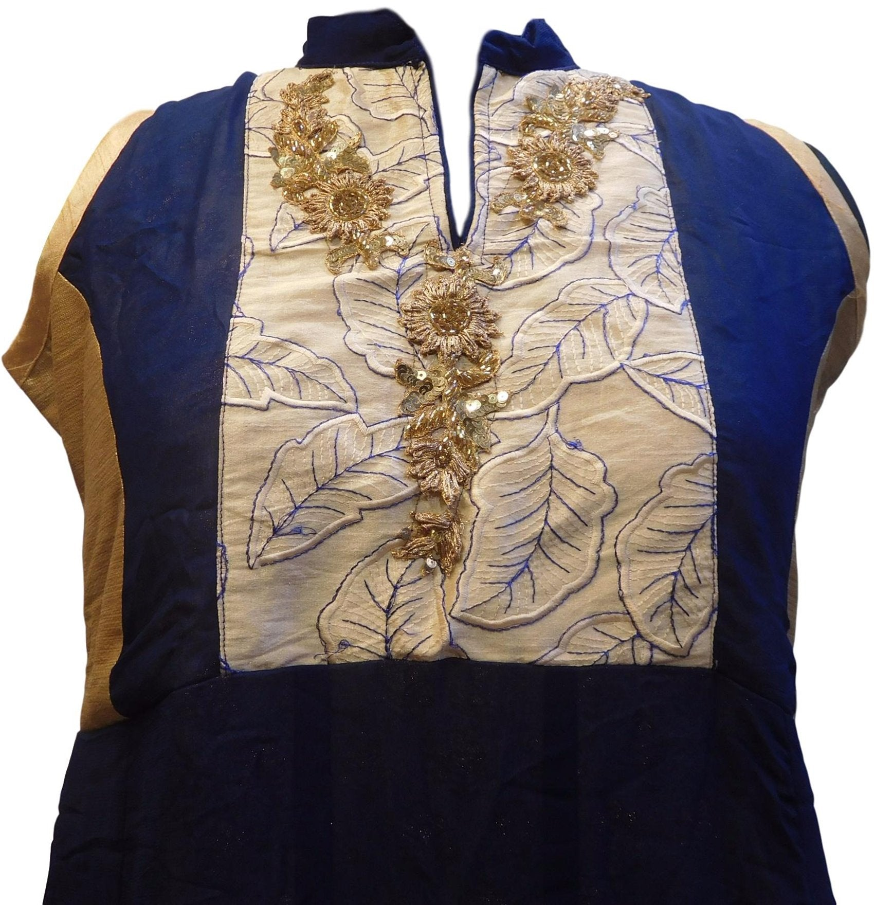 Blue & Cream Designer Georgette (Viscos) Hand Embroidery Buliion Cutdana Sequence Stone Thread Work Kurti Kurta