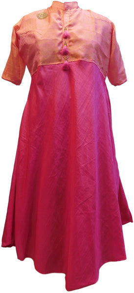 Pink & Peach Designer Georgette Embroidery Bullion Dabka Beads Thread Stone Work Kurti Kurta