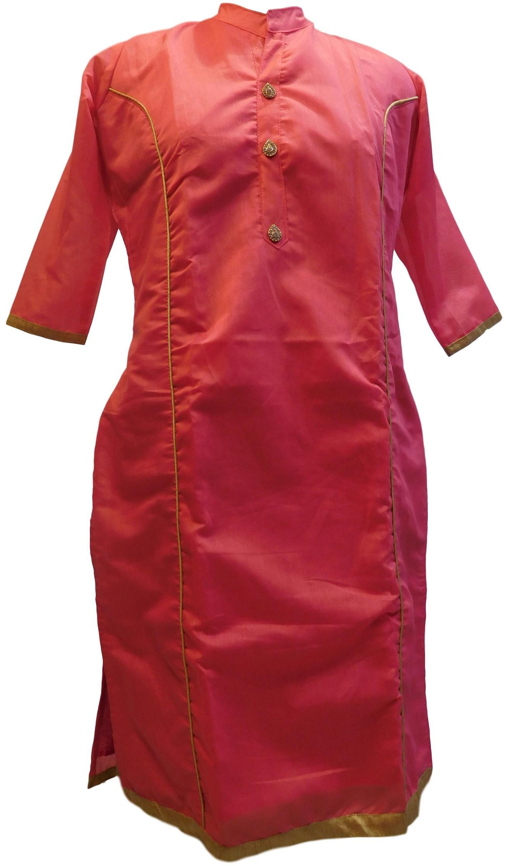 Pink Designer Cotton (Chanderi) Hand Embroidery Stone Work Kurti Kurta