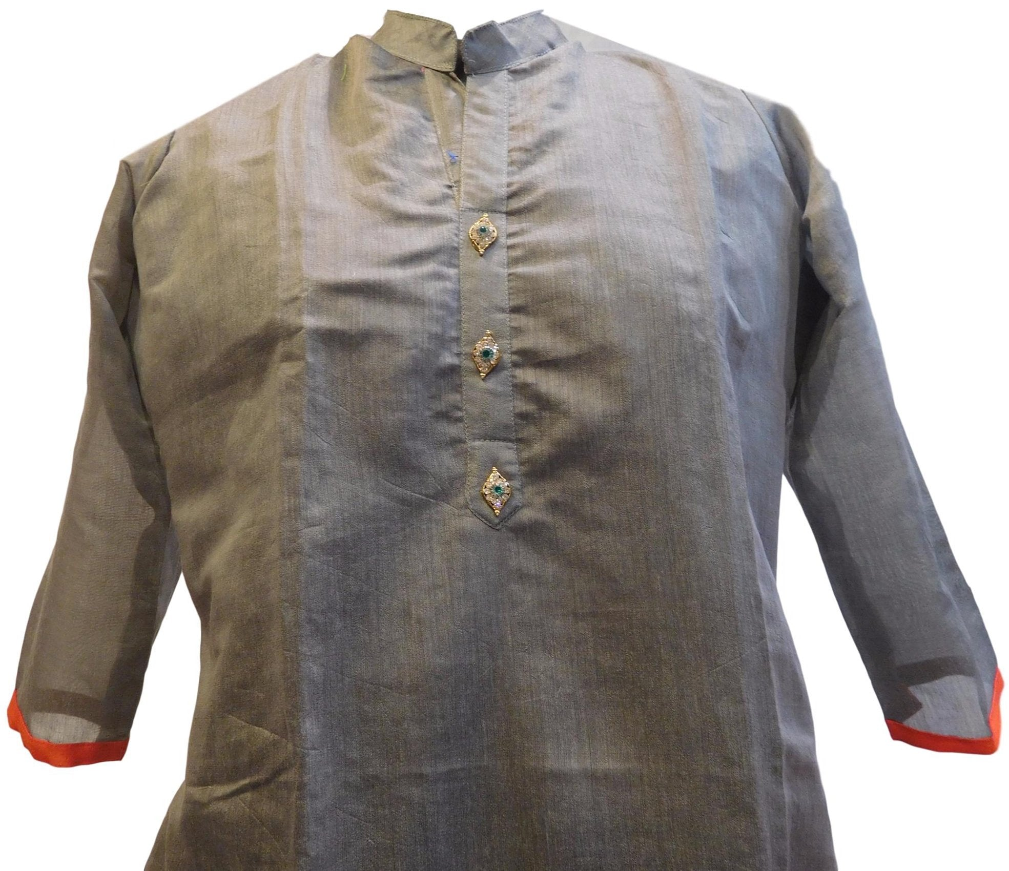 Grey Designer Cotton (Chanderi) Hand Embroidery Stone Work Kurti Kurta