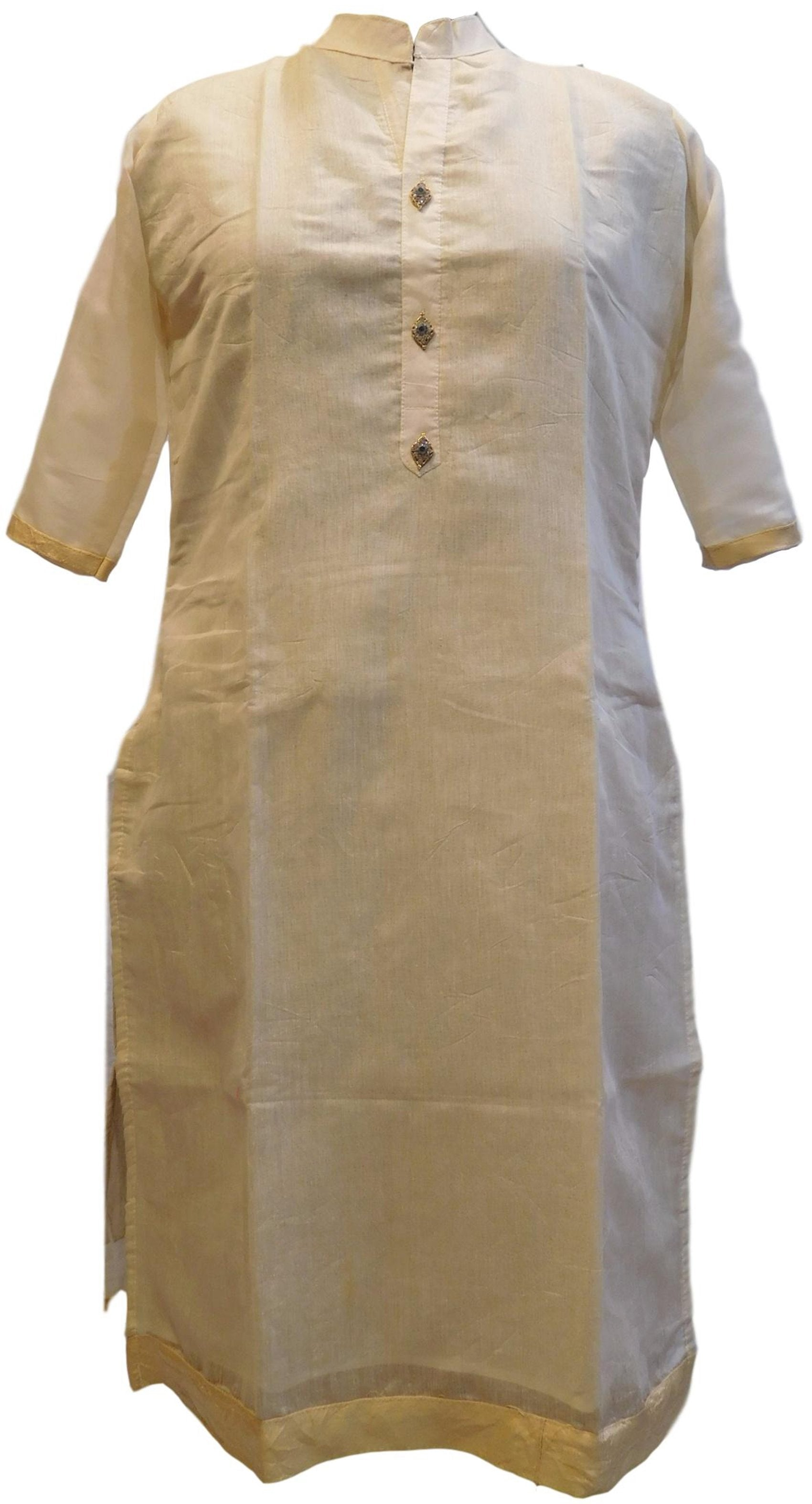 Cream Designer Cotton (Chanderi) Hand Embroidery Stone Work Kurti Kurta