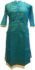 Sea Green Designer Cotton (Chanderi) Hand Embroidery Stone Work Kurti Kurta