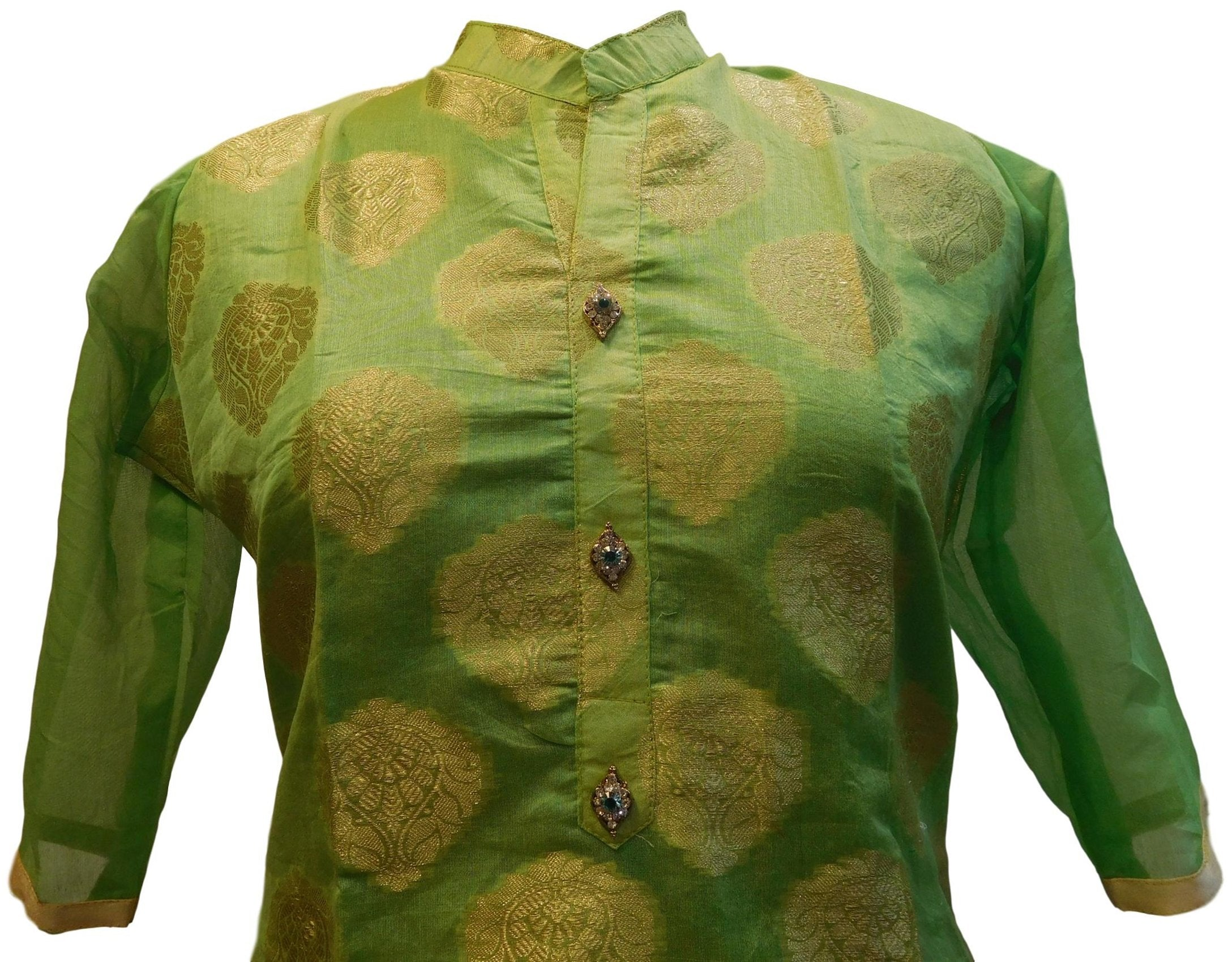 Green Designer Cotton (Chanderi) Self Weaven Zari Hand Embroidery Stone Work Kurti Kurta