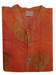 Peach Designer Cotton (Chanderi) Self Weaven Zari Hand Embroidery Stone Work Kurti Kurta