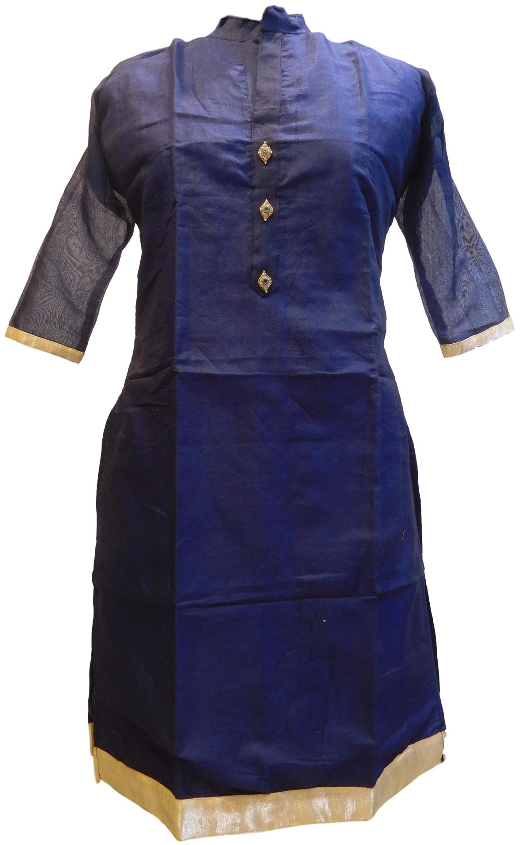 Navi Blue Designer Cotton (Chanderi) Hand Embroidery Stone Work Kurti Kurta