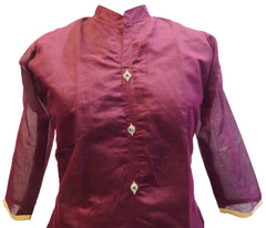 Wine Designer Cotton (Chanderi) Hand Embroidery Stone Work Kurti Kurta