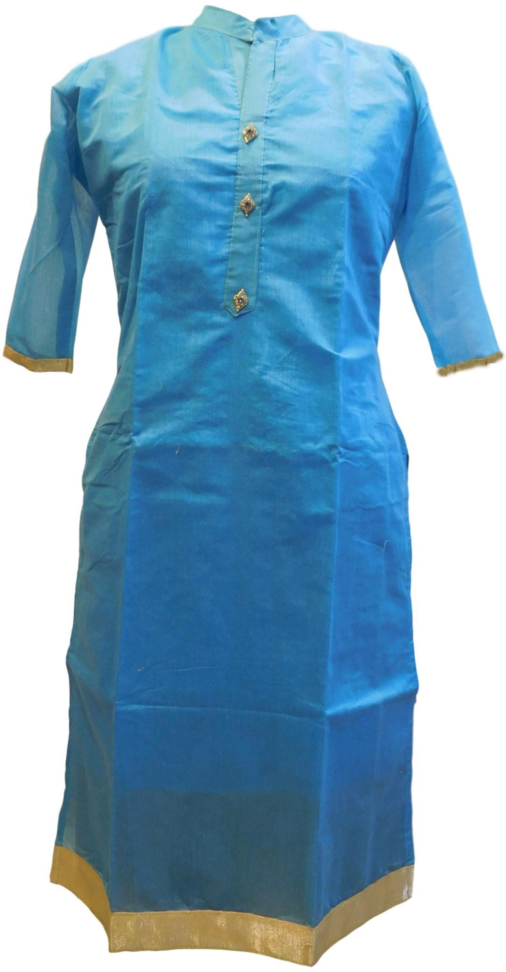 Blue Designer Cotton (Chanderi) Hand Embroidery Stone Work Kurti Kurta