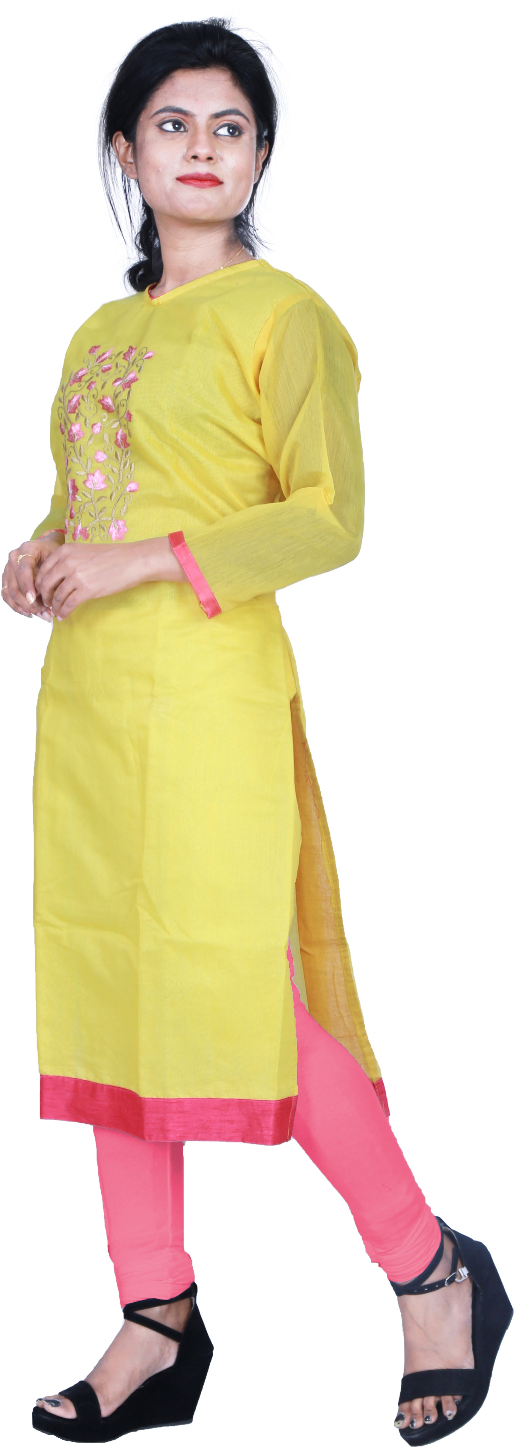 SMSAREE Yellow Designer Casual Partywear Cotton (Chanderi) Thread Hand Embroidery Work Stylish Women Kurti Kurta With Free Matching Leggings D258
