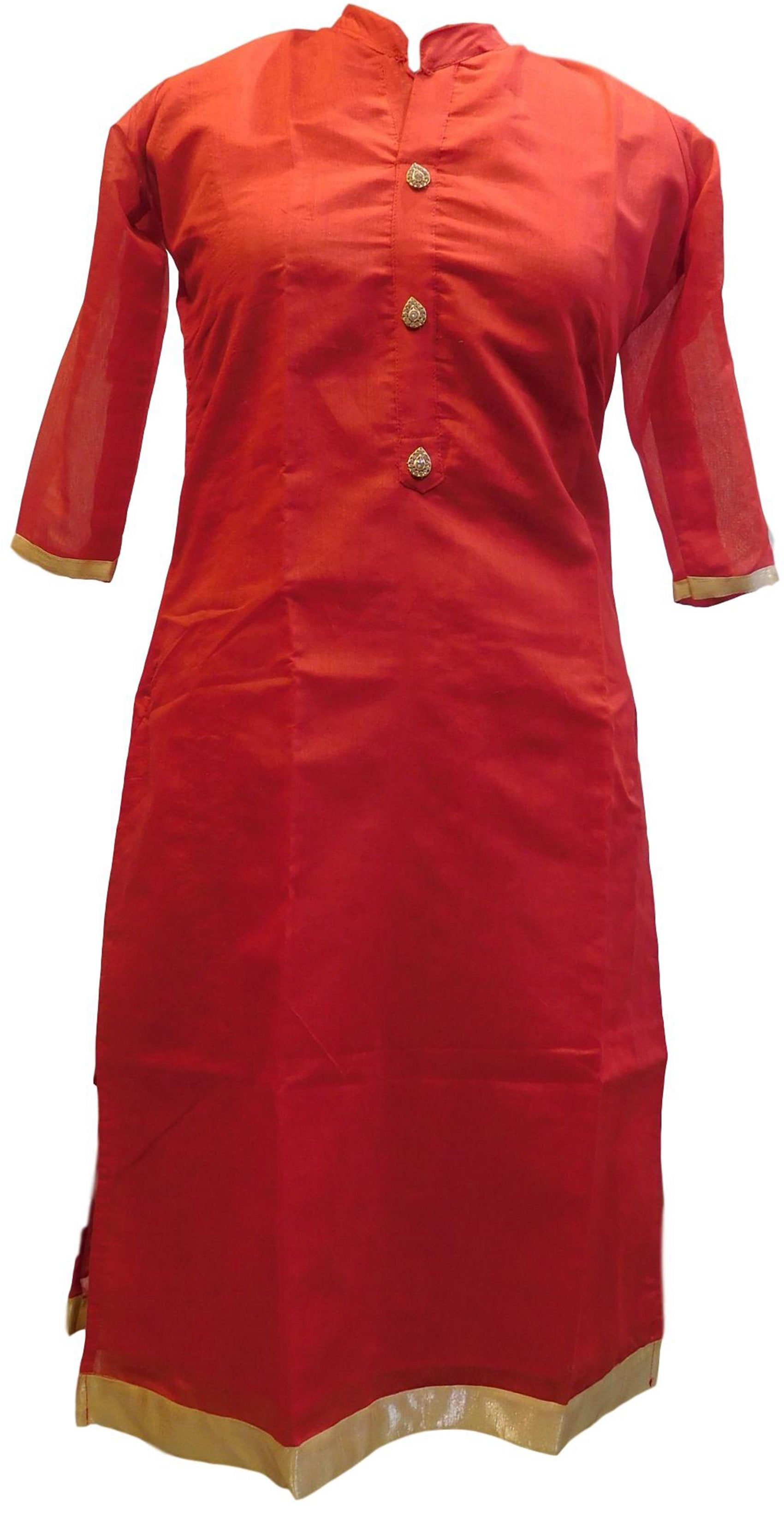Red Designer Cotton (Chanderi) Hand Embroidery Stone Work Kurti Kurta